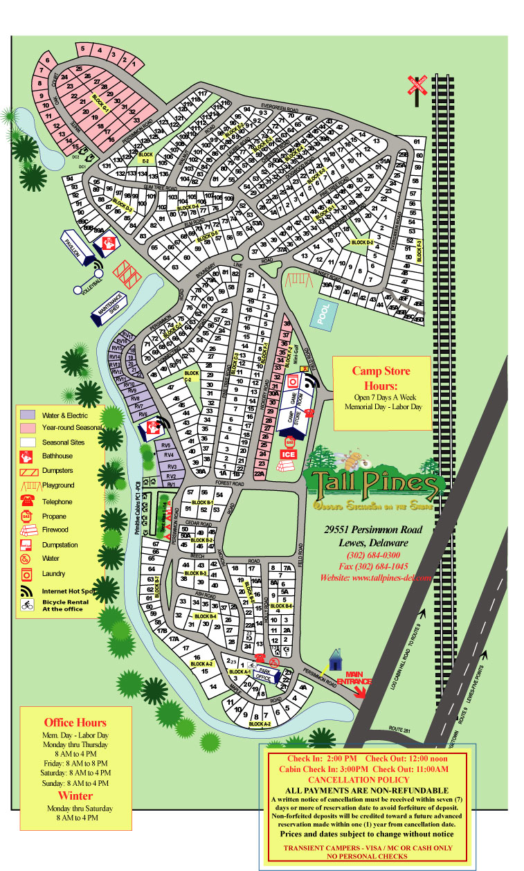 Tall Pines Campground Map